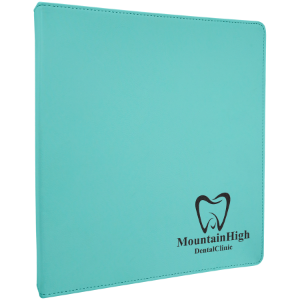 Teal Lasered Leatherette 3-Ring Binder