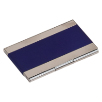 Blue Metal Business Card Holder