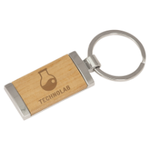 Rectangle Silver & Wood Keychain
