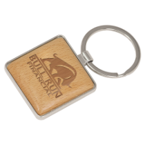 Square Silver & Wood Keychain