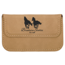 Light Brown Leatherette Flexible Card Case