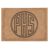 Light Brown Leatherette Hard Card Case with Magnetic Closure