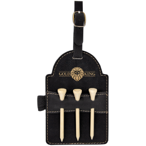 Black/Gold Leatherette Golf Bag Tag with Wooden Tees