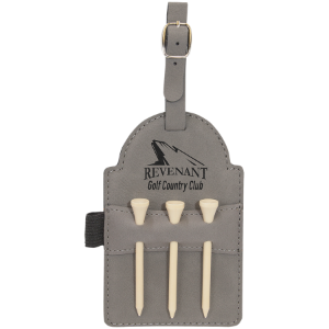 Gray Leatherette Golf Bag Tag with Wooden Tees