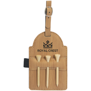 Bamboo Leatherette Golf Bag Tag with Wooden Tees