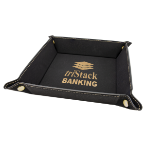 Black/Gold Leatherette Folding Tray with Gold Snaps