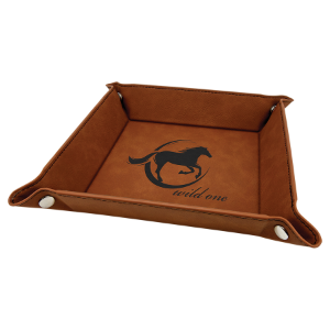 Rawhide Leatherette Folding Tray with Silver Snaps