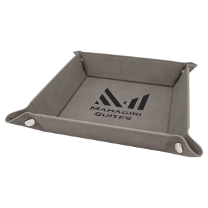 Gray Leatherette Folding Tray with Silver Snaps