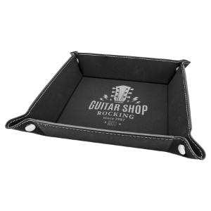 Black/Silver Leatherette Folding Tray with Silver Snaps