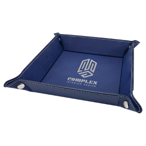 Blue/Silver Leatherette Folding Tray with Silver Snaps