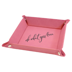 6 x 6 Pink Laserable Leatherette Snap Up Tray with Silver Snaps