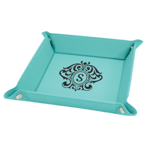 6 x 6 Teal Laserable Leatherette Snap Up Tray with Silver Snaps