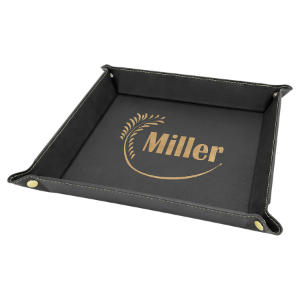 9 x 9 Black/Gold Laserable Leatherette Snap Up Tray with Gold Snaps