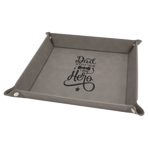 9 x 9 Gray Laserable Leatherette Snap Up Tray with Silver Snaps