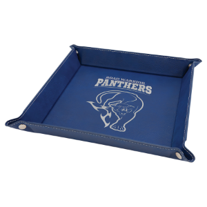 9 x 9 Blue/Silver Laserable Leatherette Snap Up Tray with Silver Snaps