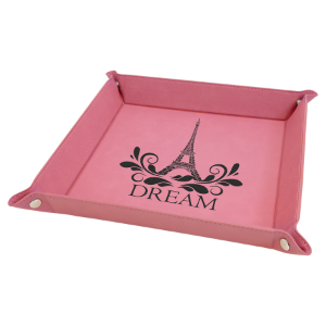 9 x 9 Pink Laserable Leatherette Snap Up Tray with Silver Snaps