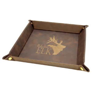 9 x 9 Rustic/Gold Laserable Leatherette Snap Up Tray with Gold Snaps