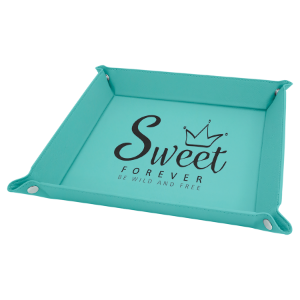 9 x 9 Teal Laserable Leatherette Snap Up Tray with Silver Snaps