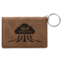 Dark Brown Leatherette ID Holder with Keychain