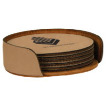 Round Light Brown Leatherette 6-Coaster Set