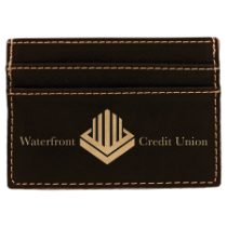 Black & Gold Leatherette Wallet Clip