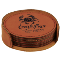 Round Rawhide Leatherette 6-Coaster Set