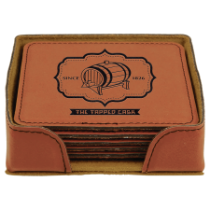 Square Rawhide Leatherette 6-Coaster Set