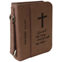 Dark Brown Leatherette Book/Bible Cover with Handle & Zipper
