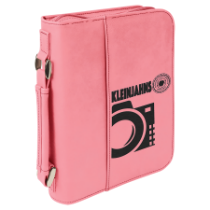 Pink Leatherette Book/Bible Cover with Handle & Zipper
