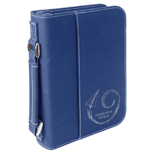 Blue/Silver Leatherette Book/Bible Cover with Zipper & Handle