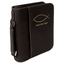 Black & Gold Leatherette Book/Bible Cover with Handle & Zipper