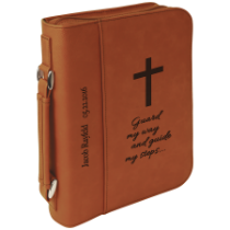 Rawhide Leatherette Book/Bible Cover with Handle & Zipper