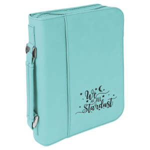 Teal Leatherette Book/Bible Cover with Handle & Zipper