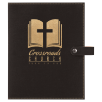 Black & Gold Leatherette Book/Bible Cover with Snap Closure