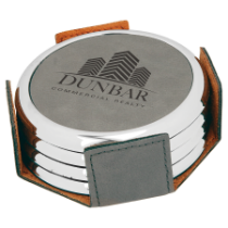 Round Gray Leatherette with Silver Edge 4-Coaster Set