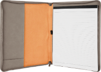 Gray Leatherette Portfolio with Zipper & Notepad