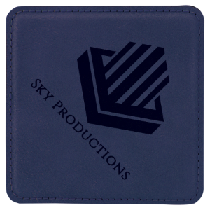 Blue/Black Square Leatherette Coaster