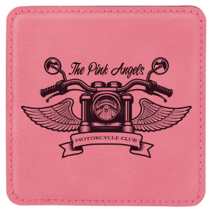 Pink Square Leatherette Coaster