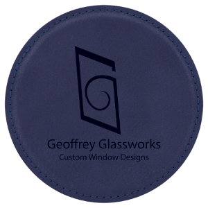 Blue/Black Round Leatherette Coaster