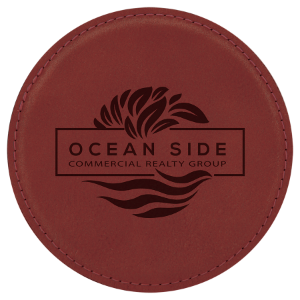 Rose Round Leatherette Coaster