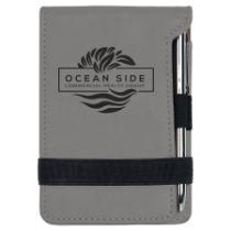 Gray Leatherette Mini Pad with Pen