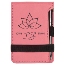 Pink Leatherette Mini Pad with Pen