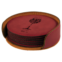 Round Rose Leatherette 6-Coaster Set