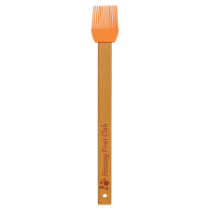 Orange Silicone Baster Brush with Bamboo Handle
