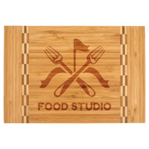Small Bamboo Cutting Board with Butcher Block Inlay