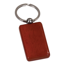 Rosewood Finish Wooden Rectangle Keychain