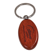 Rosewood Finish Oval Wooden Keychain