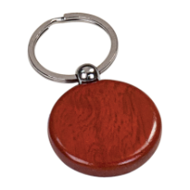 Rosewood Finish Round Wooden Keychain
