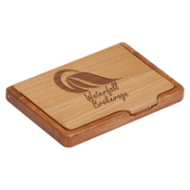 Maple & Rosewood Finish Business Card Holder