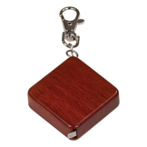 Rosewood Finish Square 3' Tape Measure with Keychain